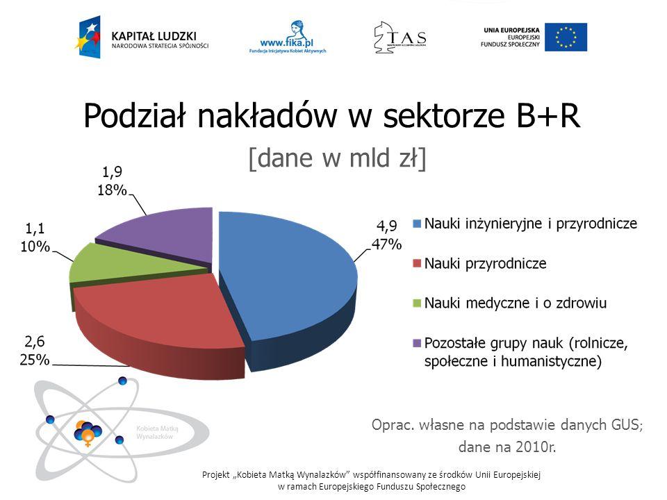 Podział nakładów w sektorze B+R [dane w mld zł]
